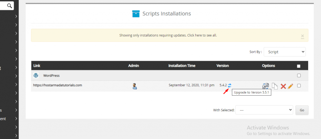Updating multiple installations can be done from your web hosting control panel