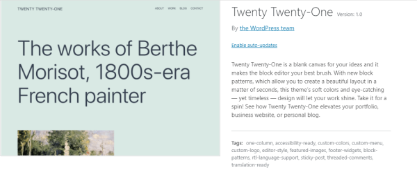 WordPress Twenty Twenty One Theme