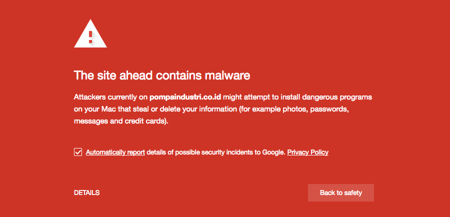 Google Safe Browsing and Google Blocklist - > The site ahead contains malware showing browser warning example.
