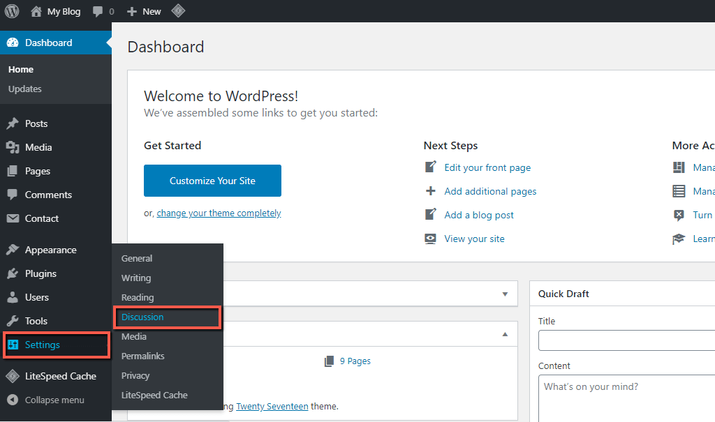 Access WordPress Discussion Settings