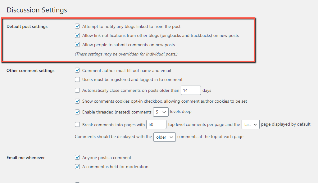 WordPress Default Post Settings