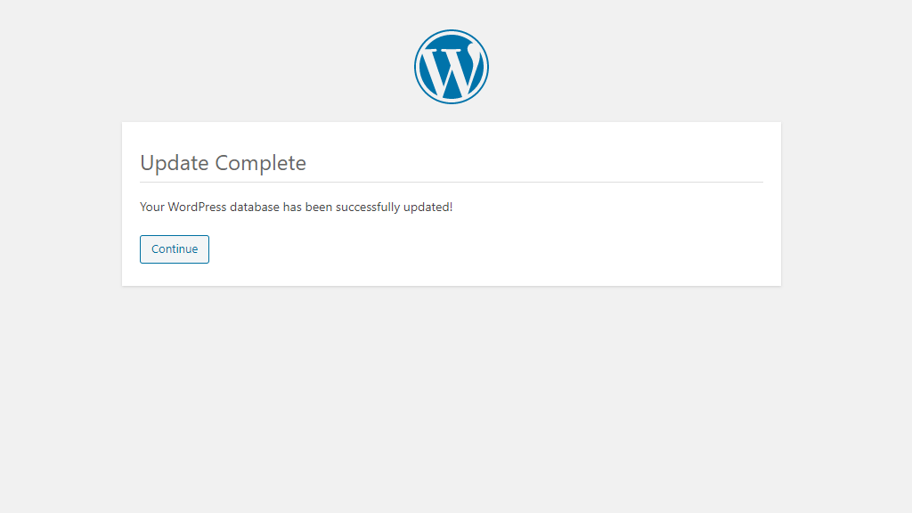 WordPress Database Update Completed